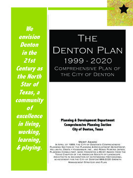 The Denton Plan 1999-2020 : Comprehensive Plan of the City of Denton.