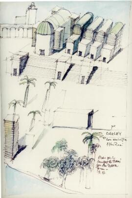 Photographic reproductions of Rossi's sketches for the site